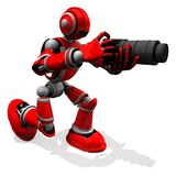3D Photographer Robot Red Color Pose With Flat Camera Stock Photography