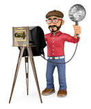 3D Photographer taking a photo with a vintage camera Royalty Free Stock Photography