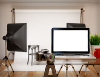 3D Photography studio with blank laptop screen. Mockup. 3D illustration photography studio with blank laptop screen. Mockup Royalty Free Stock Photography