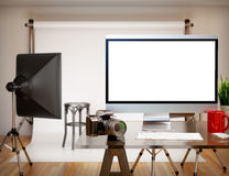 3D Photography studio with blank screen. Mockup Stock Image