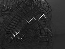 3d physical wire-frame structure in dark room. Abstract black digital graphic background, physical wire-frame structure in dark room. 3d render illustration Stock Images