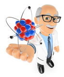 3D Physics teacher with an atom Royalty Free Stock Photos