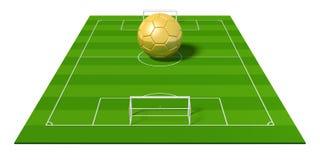 3D piłki nożnej ball/złoty futbol Fotografia Royalty Free