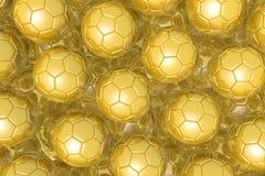 3D piłki nożnej piłek złoci futbol - tło Obraz Stock