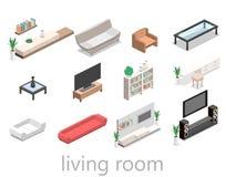 3D piano ha isolato l'interno interno del salone nella vista isometrica Fotografia Stock Libera da Diritti