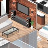 3D piano ha isolato l'interno interno tagliato del salone di vettore di concetto Fotografia Stock Libera da Diritti