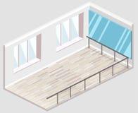 3D piano isometrico ha isolato il ballo-corridoio interiortraining tagliato di concetto Immagine Stock