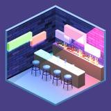 3D piano isometrico ha isolato il concetto Antivari tagliato nel night-club Fotografia Stock Libera da Diritti
