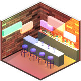 3D piano isometrico ha isolato il concetto Antivari tagliato nel night-club Immagini Stock