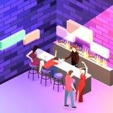 3D piano isometrico ha isolato il concetto Antivari tagliato nel night-club Immagine Stock