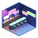 3D piano isometrico ha isolato il concetto Antivari tagliato nel night-club Fotografia Stock