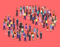 3D piano isometrico ha isolato il concetto una folla della gente Fotografia Stock Libera da Diritti