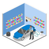 3D piano isometrico ha isolato il garage automatico di servizio di concetto Fotografia Stock