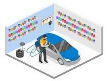 3D piano isometrico ha isolato il garage automatico di servizio di concetto Fotografie Stock Libere da Diritti