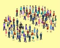 3D piano isometrico ha isolato il grafico di Infographic di vettore che consiste di una folla della gente Fotografie Stock Libere da Diritti
