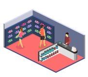3D piano isometrico ha isolato il negozio di scarpe di sport dell'illustrazione del cflat Immagini Stock
