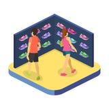3D piano isometrico ha isolato il negozio di scarpe di sport dell'illustrazione del cflat Immagini Stock Libere da Diritti