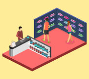 3D piano isometrico ha isolato il negozio di scarpe di sport dell'illustrazione del cflat Insieme delle scarpe da tennis Fotografia Stock