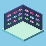 3D piano isometrico ha isolato il negozio di scarpe di sport dell'illustrazione del cflat Insieme delle scarpe da tennis Immagini Stock