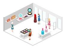 3D piano isometrico ha isolato il negozio interno dei cosmetici Immagine Stock Libera da Diritti