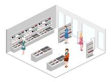3D piano isometrico ha isolato il negozio interno dei cosmetici Fotografie Stock Libere da Diritti