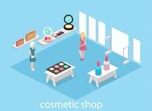 3D piano isometrico ha isolato il negozio interno dei cosmetici Immagine Stock