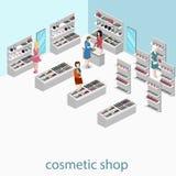 3D piano isometrico ha isolato il negozio interno dei cosmetici Fotografia Stock