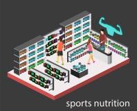 3D piano isometrico ha isolato il negozio interno tagliato di supplementi di sport Fotografia Stock Libera da Diritti