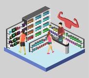 3D piano isometrico ha isolato il negozio interno tagliato di supplementi di sport Immagini Stock