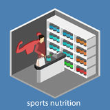 3D piano isometrico ha isolato il negozio interno tagliato di supplementi di sport Fotografia Stock