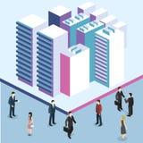 3D piano isometrico ha isolato il quarto tridimensionale della città dell'estate della città Immagini Stock