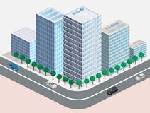 3D piano isometrico ha isolato il quarto tridimensionale della città dell'estate della città Immagine Stock