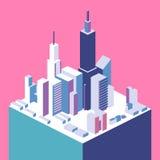 3D piano isometrico ha isolato il quarto tridimensionale della città dell'estate della città di concetto Fotografia Stock