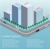 3D piano isometrico ha isolato il quarto tridimensionale della città dell'estate della città di vettore di concetto Fotografia Stock
