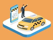 3D piano isometrico ha isolato il servizio di trasporto del taxi di concetto illustrazione di stock