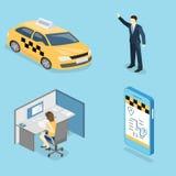 3D piano isometrico ha isolato il trasporto del taxi di vettore di concetto, servizio Fotografia Stock
