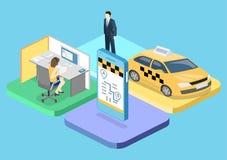 3D piano isometrico ha isolato il trasporto del taxi di vettore di concetto, servizio Immagine Stock Libera da Diritti