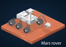 3D piano isometrico ha isolato il vettore Rover che sta su Marte Immagine Stock