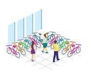 3D piano isometrico ha isolato l'interno di concetto del negozio della bicicletta Immagine Stock Libera da Diritti