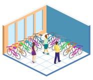 3D piano isometrico ha isolato l'interno di concetto del negozio della bicicletta Fotografie Stock Libere da Diritti