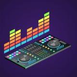3D piano isometrico ha isolato la console del DJ Immagine Stock Libera da Diritti