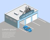 3D piano isometrico ha isolato la riparazione della costruzione o dell'automobile di servizio dell'automobile Fotografia Stock