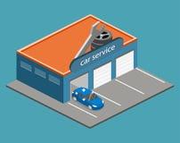 3D piano isometrico ha isolato la riparazione della costruzione o dell'automobile di servizio dell'automobile Immagine Stock Libera da Diritti