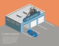 3D piano isometrico ha isolato la riparazione della costruzione o dell'automobile di servizio dell'automobile Immagini Stock