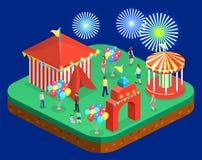 3D piano isometrico ha isolato le insegne della città con i caroselli Parco di divertimenti Fotografia Stock Libera da Diritti