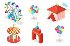 3D piano isometrico ha isolato le insegne della città con i caroselli Parco di divertimenti Immagini Stock
