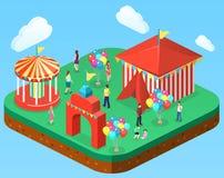 3D piano isometrico ha isolato le insegne della città con i caroselli Parco di divertimenti Fotografie Stock