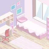 3D piano isometrico ha isolato le ragazze che interne tutti dentellano l'interno della camera da letto Fotografia Stock Libera da Diritti
