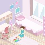 3D piano isometrico ha isolato le ragazze che interne tutti dentellano l'interno della camera da letto Immagine Stock Libera da Diritti