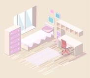3D piano isometrico ha isolato le ragazze che interne tutti dentellano l'interno della camera da letto Immagini Stock Libere da Diritti
